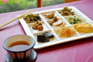 You can try an assortment of dishes, accompanied with rice and miso soup.