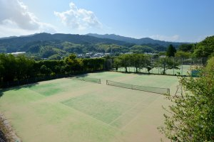 There are five tennis courts, making it good for sports groups.