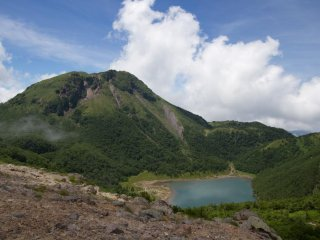 Mount Oku-Shirane seen from Mount Mae-Shirane—crater lake Goshikinuma below