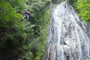 Zipping down the 40m falls