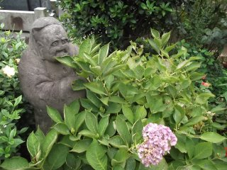 Some of the statues are hiding in the foliage