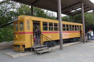 You can walk through this preserved tramcar.