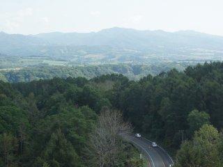 Dari atas kereta ropeway, kita bisa langsung melihat sekeliling, misalnya saja jalanan yang membelah hutan ini.