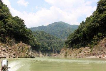 <p>The Yamabiko Suspension Bridge from upstream</p>