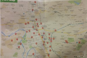 A map of the many docking stations to pick up or drop off your bike