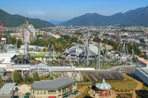 Fuji-Q Highland Amusement Park seen from the top floor of Highland Resort Hotel & Spa