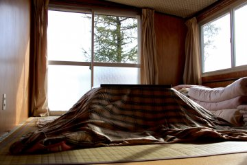 <p>Every room has its own kotatsu, a traditional Japanese heating table</p>