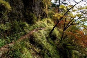 The hike to the mountain lodge follows a beautiful varied path