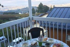 Breakfast overlooking Katsunuma.