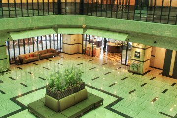 <p>The lobby and Restaurant Travel Cafe seen from the 3rd floor</p>