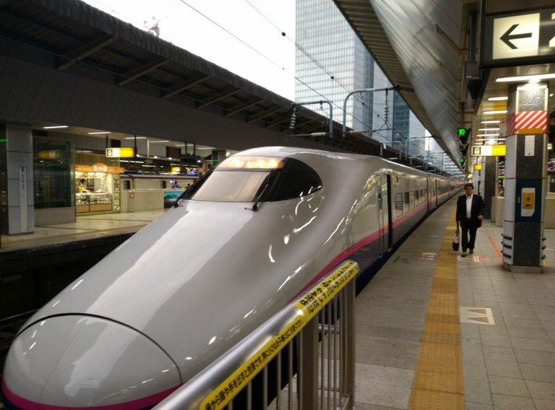 <p>A Shinkasen train ready to go to Utsunomiya</p>