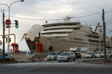 <p>Ferry are taking up car before departure from Sado Island bound for Niigata</p>