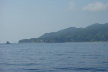 Approaching Sado Island in bad weather