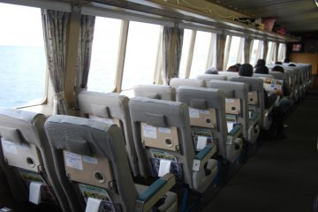 Comfortable seats by the window on the jet foil boat to Sado Island