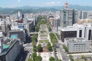 Pemandangan Taman Odori dari Menara TV Sapporo