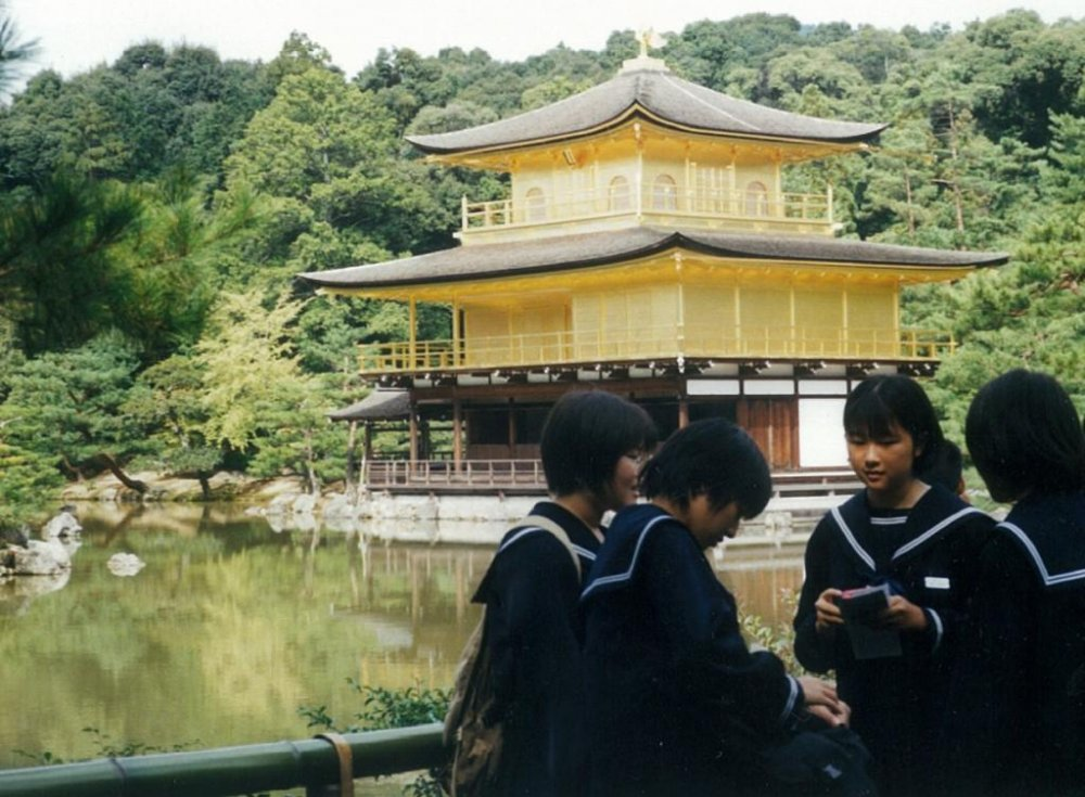 Schoolgirls by the temple