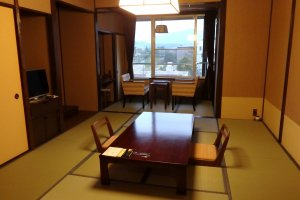 The tatami room in the deluxe twin suite.