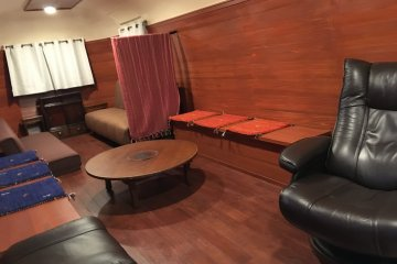 <p>The living room inside the trailer is quite spacious and have 2 sofa beds</p>