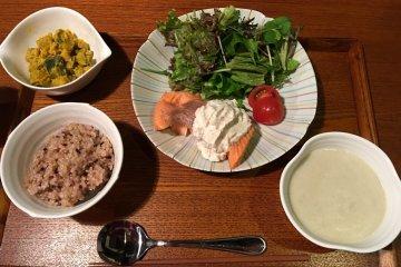 <p>My dinner was fresh local Masu Salmon</p>