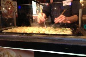 The making of Takoyaki.