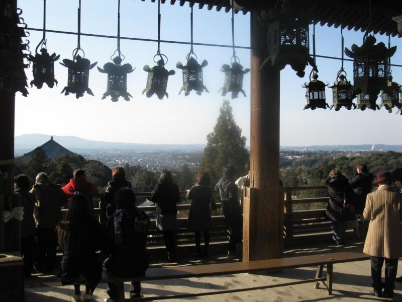 The balcony is a popular spot for visitors