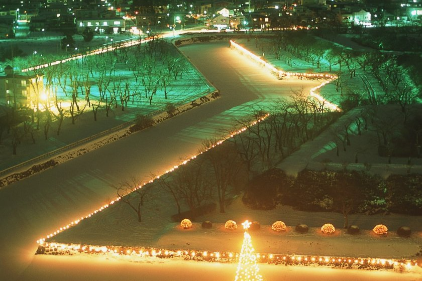 The Goryokaku fortress illuminated in the winter