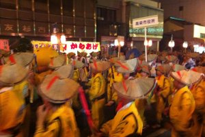 A group of dancers in yellow yukata and samurai style hats taking part in the competition