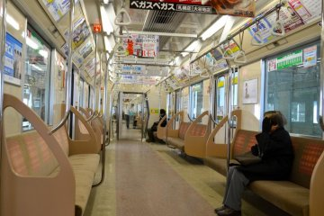В поезде на линии Намбоку до Саппоро