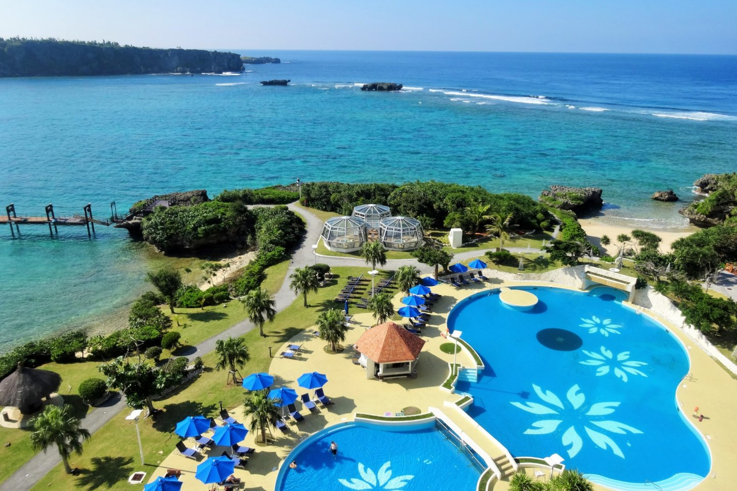 Guests can swim in both the outdoor pool or the beach