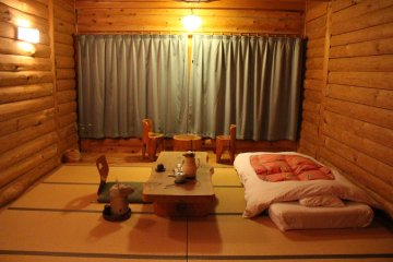 <p>My room in the Log House before bed</p>