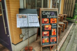 The menu outside of Café Xando
