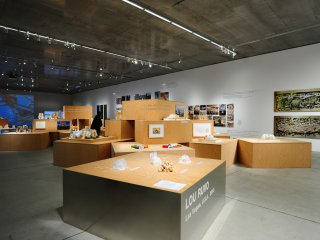 An open exhibition space showcasing Gehry's buildings around the world