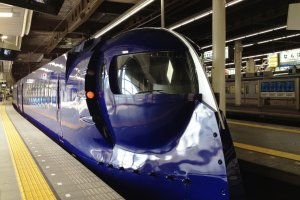 The futuristic Nankai Rapit airport express train at Namba, Osaka.
