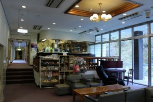 The lobby and cafe and sitting area