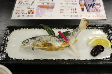 <p>Salted and grilled amago (Japanese mountain trout)</p>