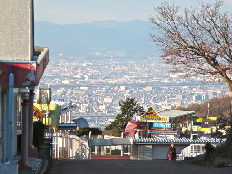 <p>The amusement park and the view of Osaka from inside one of the walkways</p>