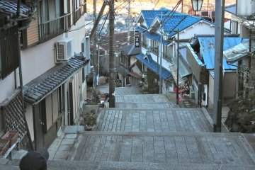 <p>Looking down one of the stairway streets of the town below Hozanji Temple</p>