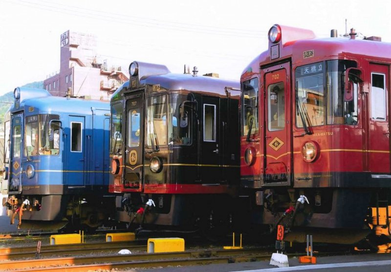 There are three trains covering points east, west and south of Amanohashidate