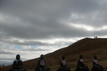 <p>At a couple of points, you share the views with some weatherbeaten Jizo statues</p>