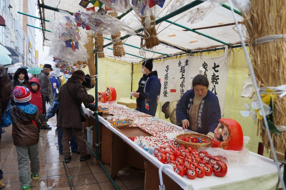 "Aizu Wakamatsu's ""Tookaichi"" or ""Tenth Day Market"" takes over downtown streets with stalls selling good luck charms, traditional toys, and plenty of local specialty foods on January 10th of every year."
