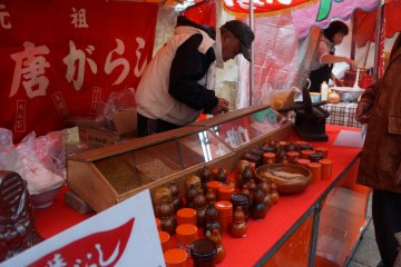 <p>There are other stalls selling things such as spices.</p>