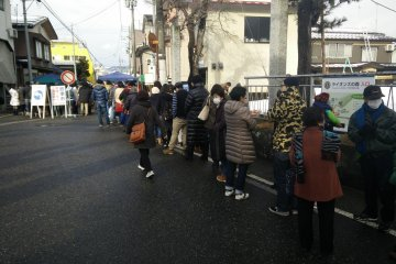 <p>Queues to buy the lucky charms</p>