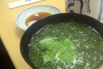 Healthy green slightly slimy looking green soup