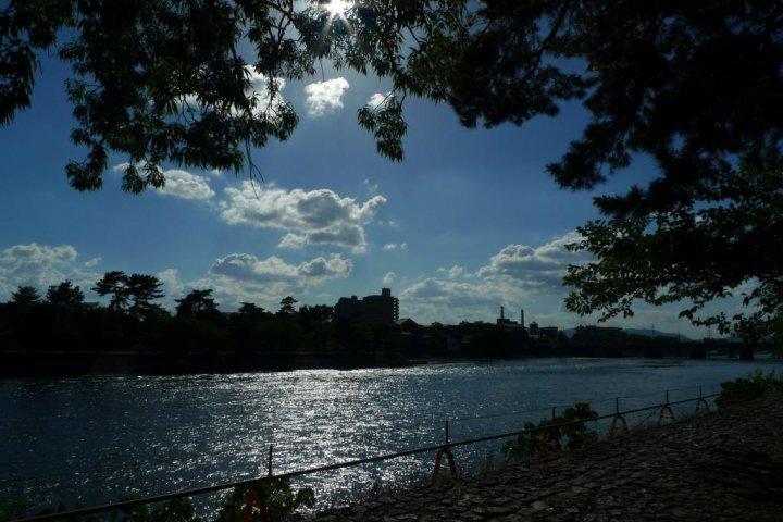 Walking along Uji River
