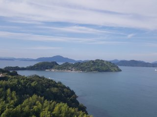 View to the left of some of the islands in the Seto Inland Sea.