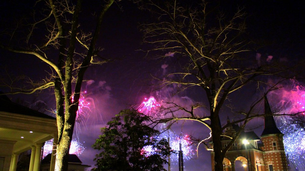 Fireworks as seen from Yacht Harbor.