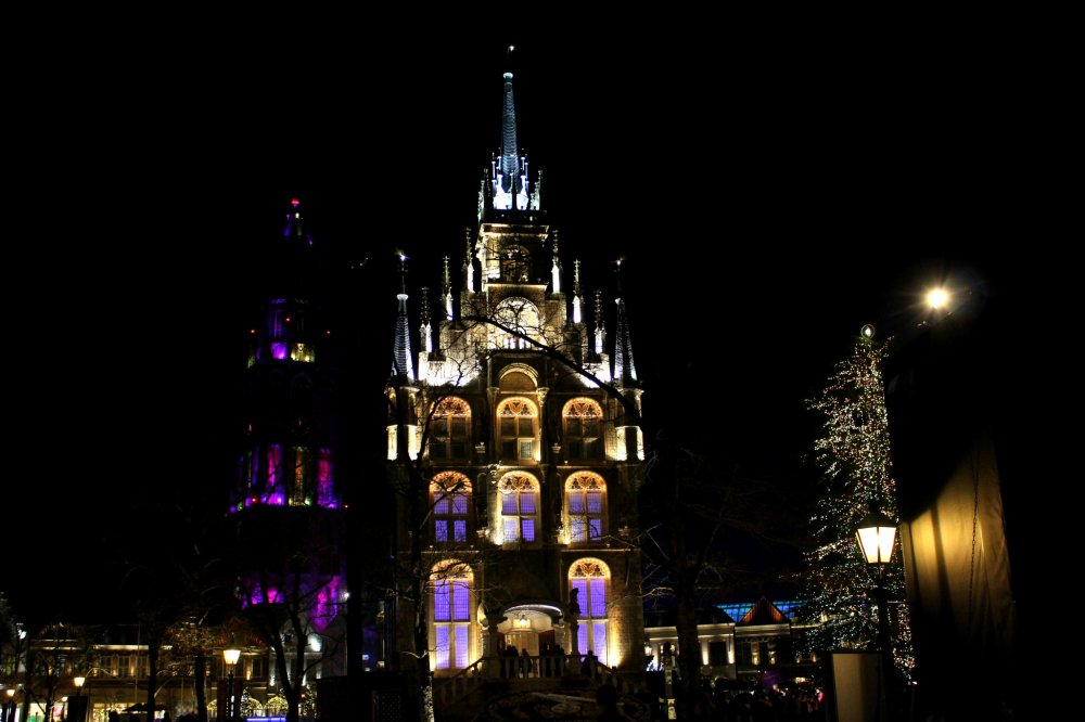 Beautiful illumination on the main tower