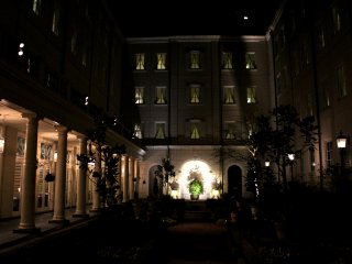 Hotel courtyard looks romantic at night