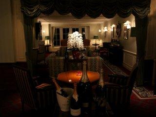 Hotel lounge at night