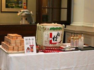 New Year Celebration sake barrel in the lobby